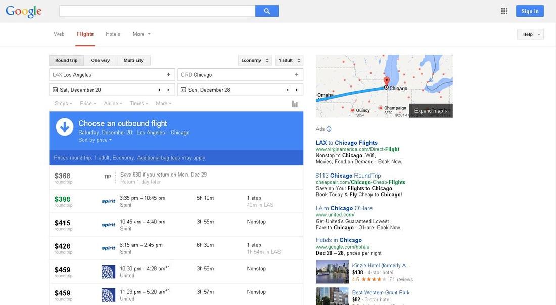 Google Flights incognito