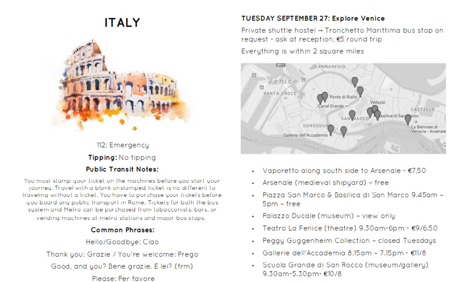 Sample Itinerary Sheet