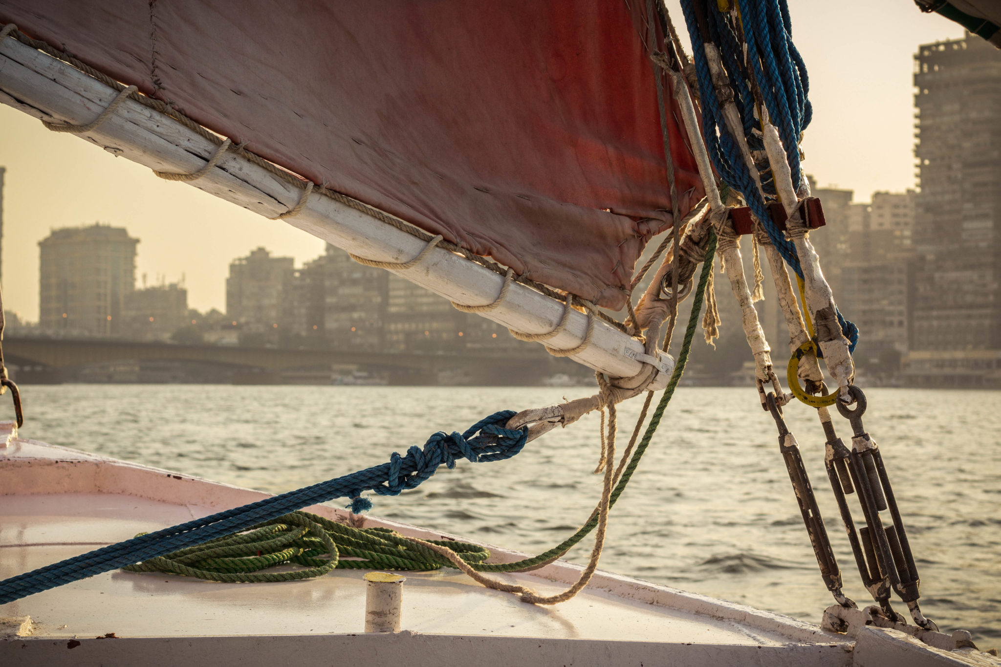 Sunset cruise on a felucca sail boat on the Nile in Cairo, Egypt