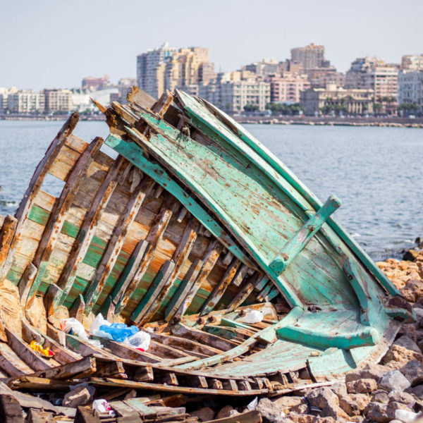 Broken boat in Alexandria, Egypt