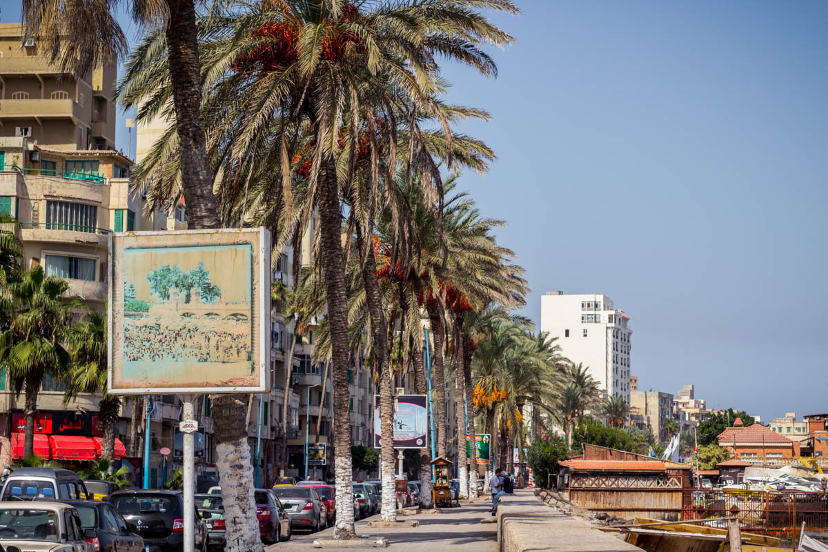 Walking along the Corniche in Alexandria, Egypt