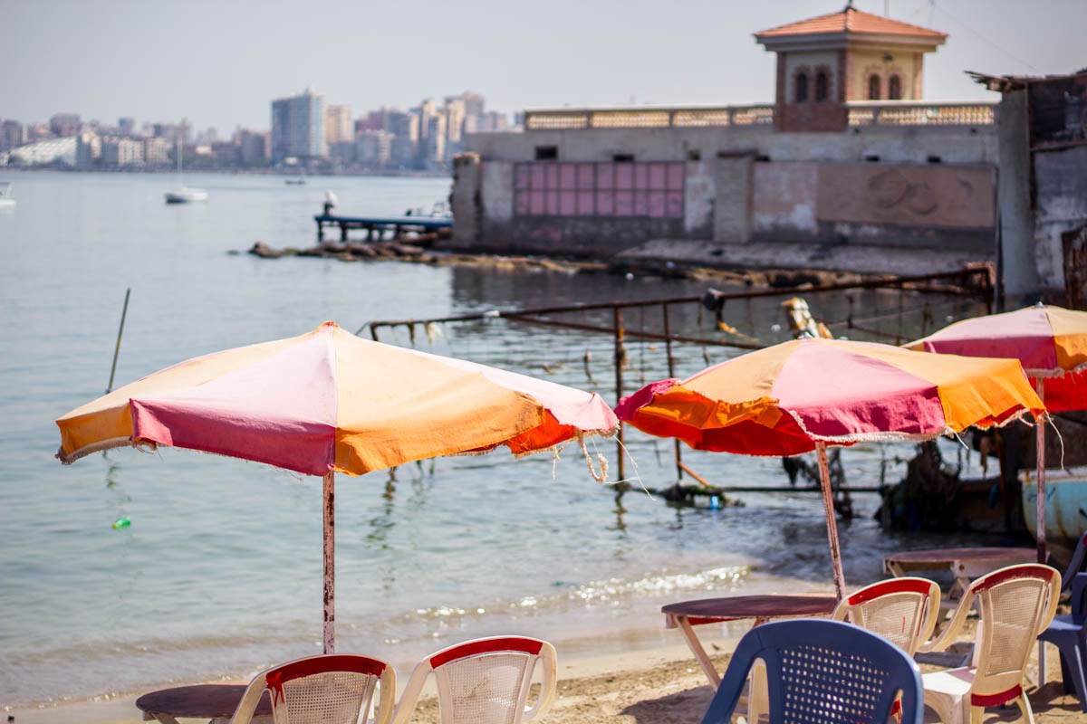 Beaches along the Corniche in Alexandria, Egypt