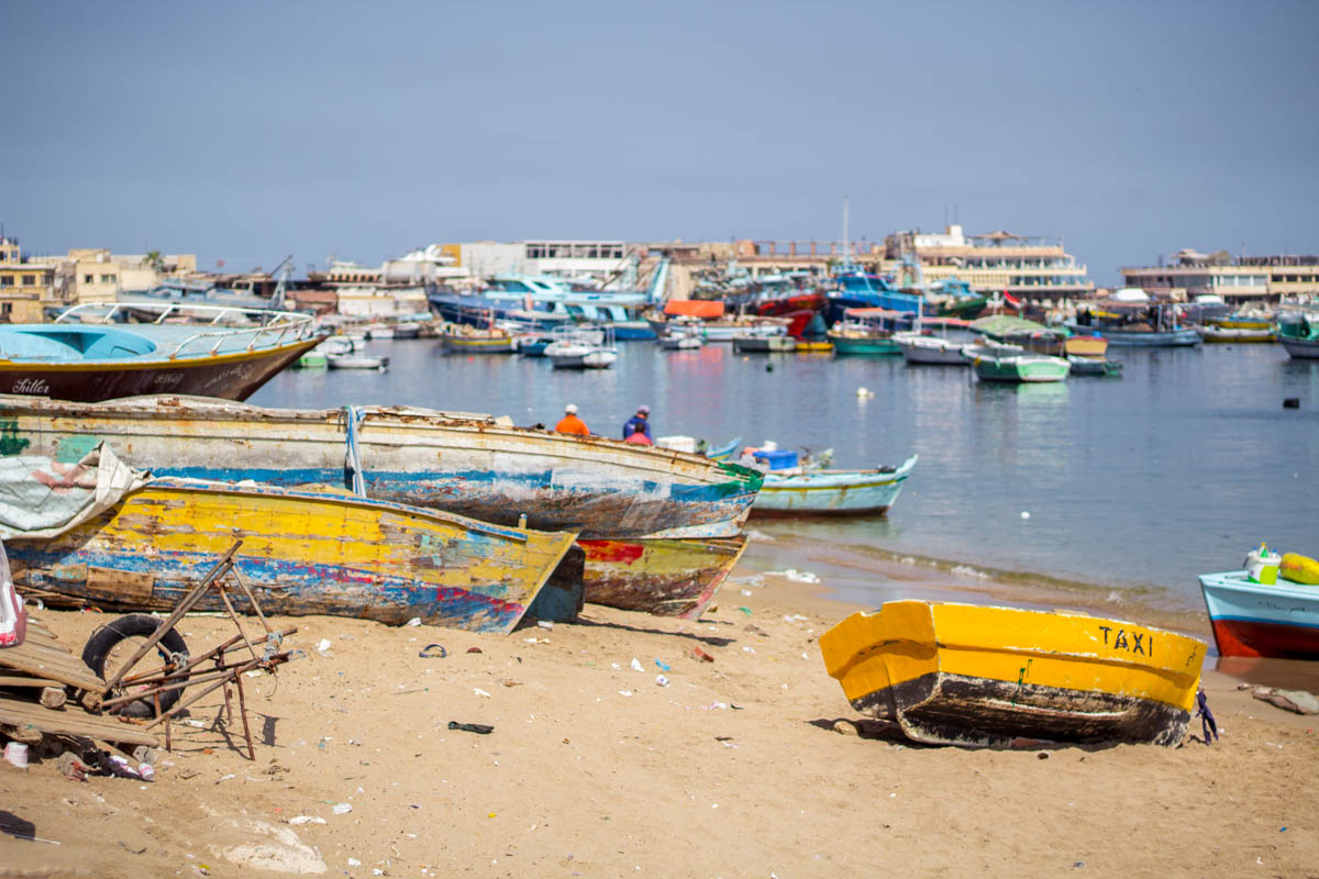 Broken colorful boats in Alexandria, Egypt
