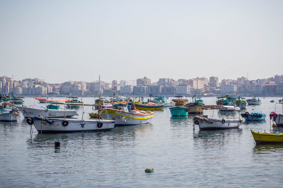 Colorful boats in Alexandria, Egypt