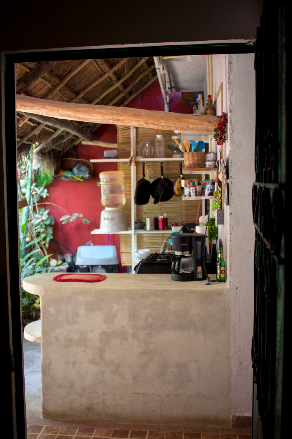 Outdoor kitchen at the Airbnb in Tulum, Mexico