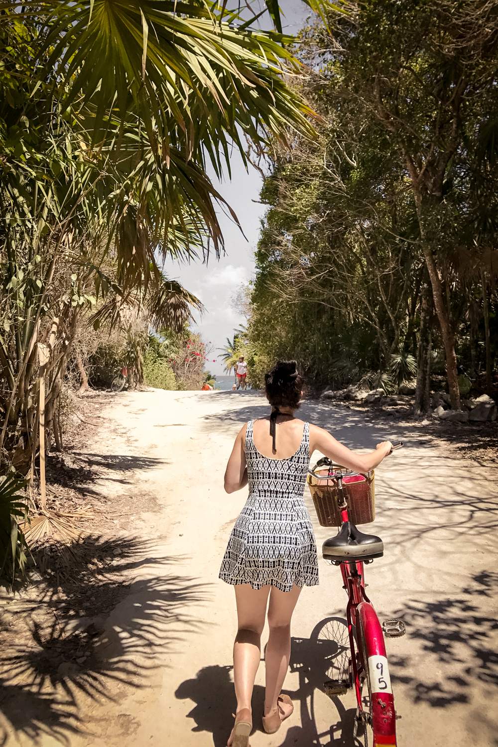 Biking to the beach in Tulum, Mexico