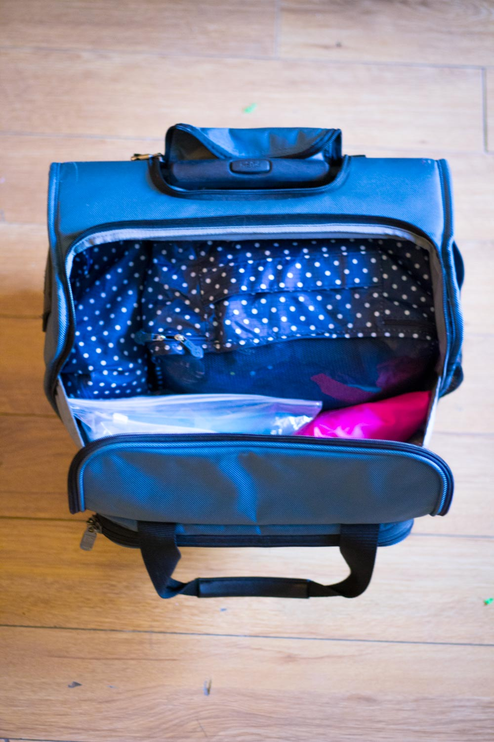 Underseat carry on bag full of winter clothes for Europe