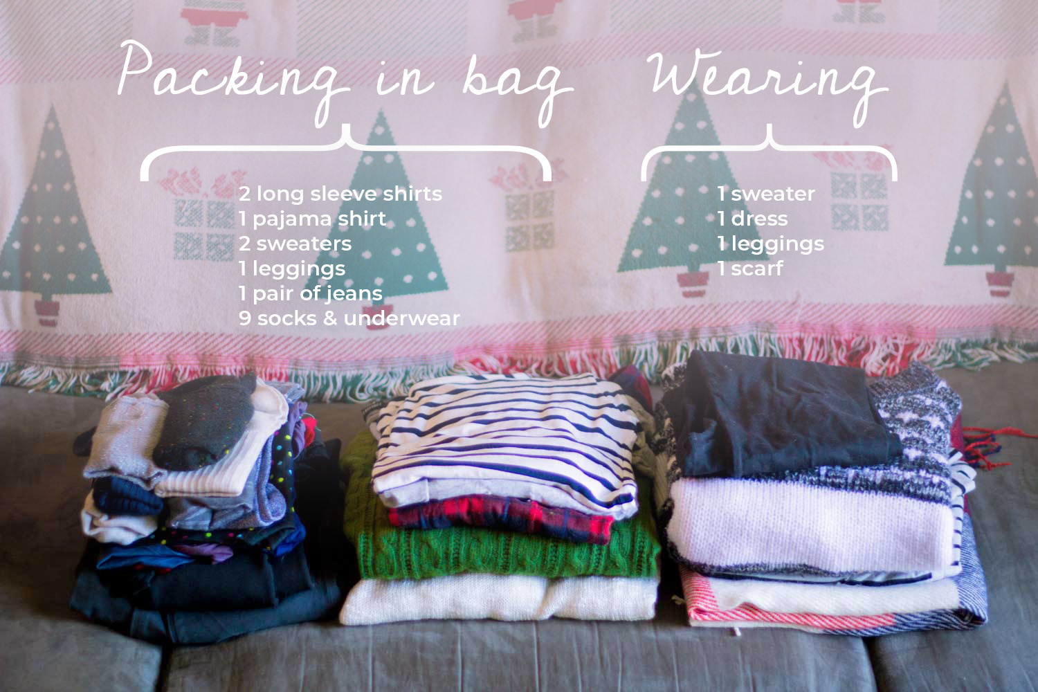 List of clothing to pack for a week in Europe in an underseat carry on bag