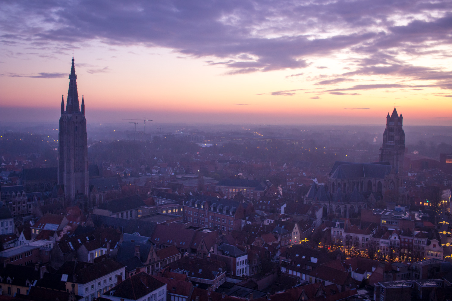 Sunset view of Bruges Belgium from Belfry Belfort