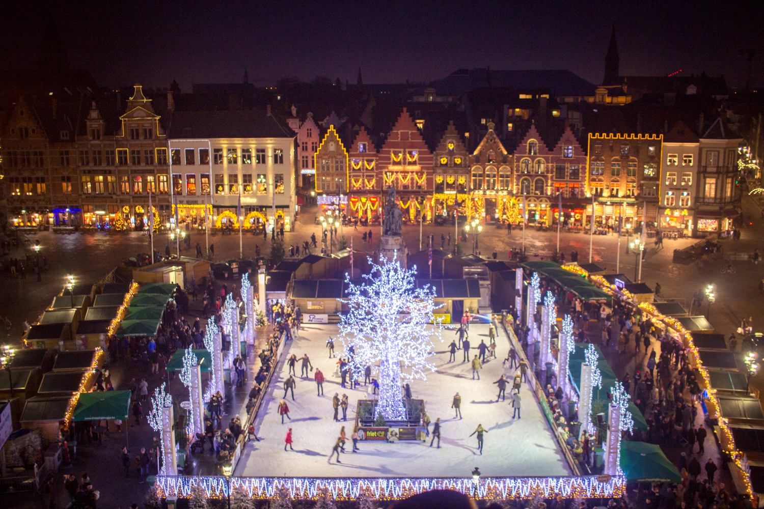 The Markt of Bruges Belgium at night