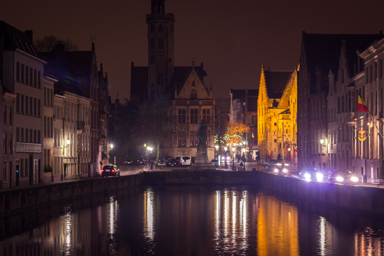 Bruges Belgium bridge at night