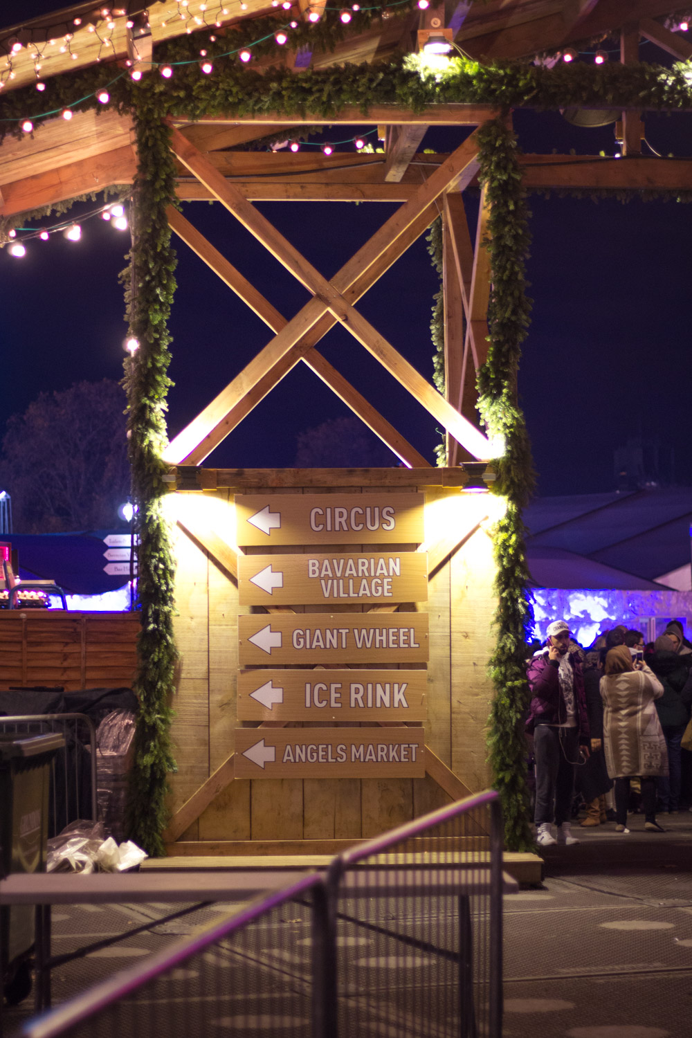 Winter Wonderland Christmas Market at Hyde Park in London at night