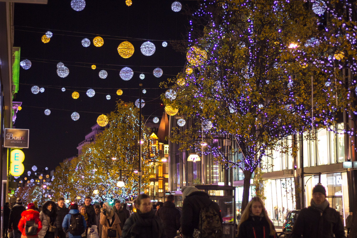 Oxford Street lit up for Christmas in London at night