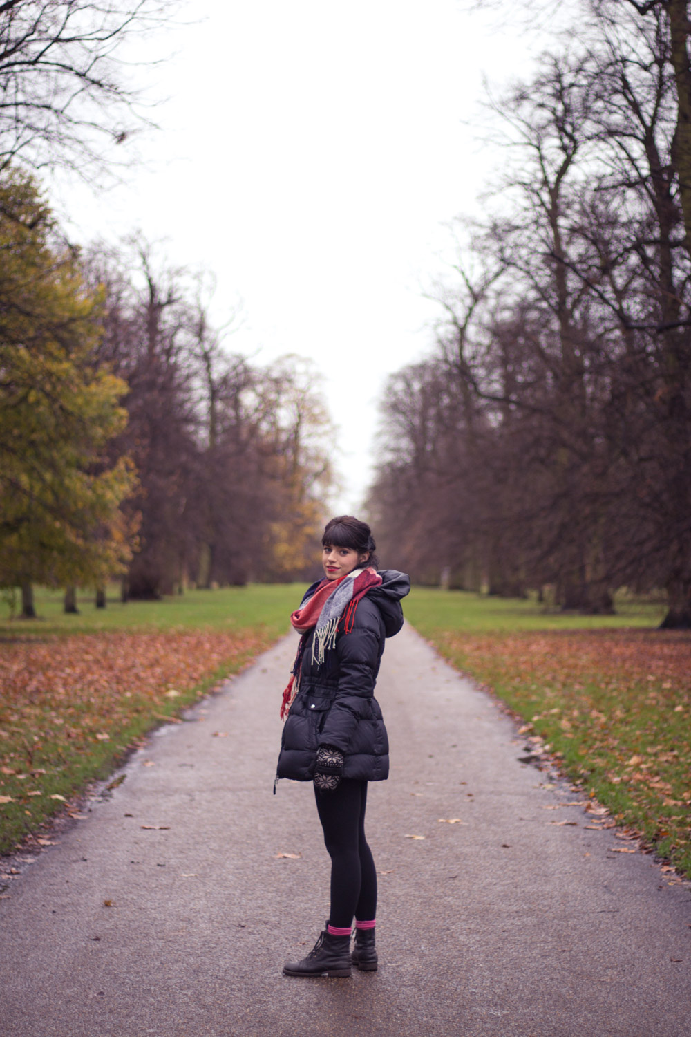 Smiling in Hyde Park London for Christmas