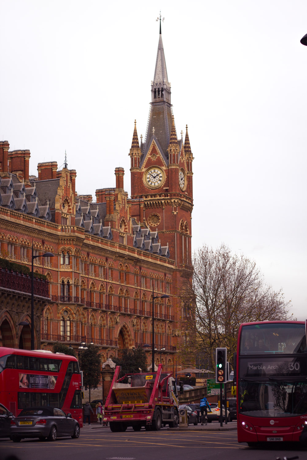 St Pancras railway station in London for Christmas