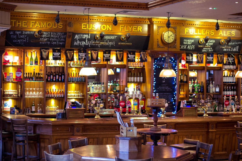 Enjoying a warm pub in London for Christmas