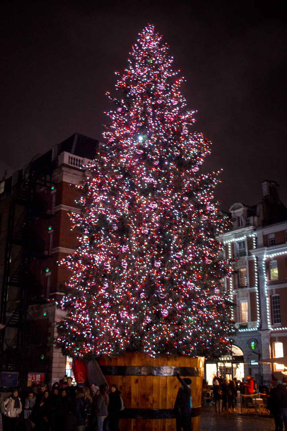 Huge Christmas tree in Covent Garden London