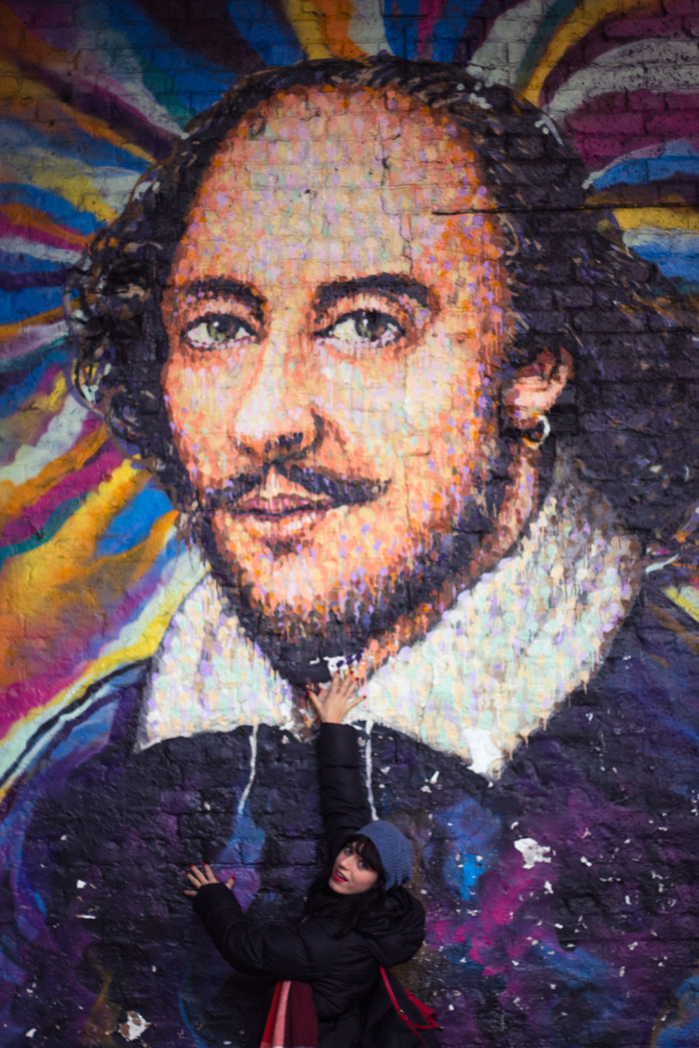 Smiling with Shakespeare mural in London