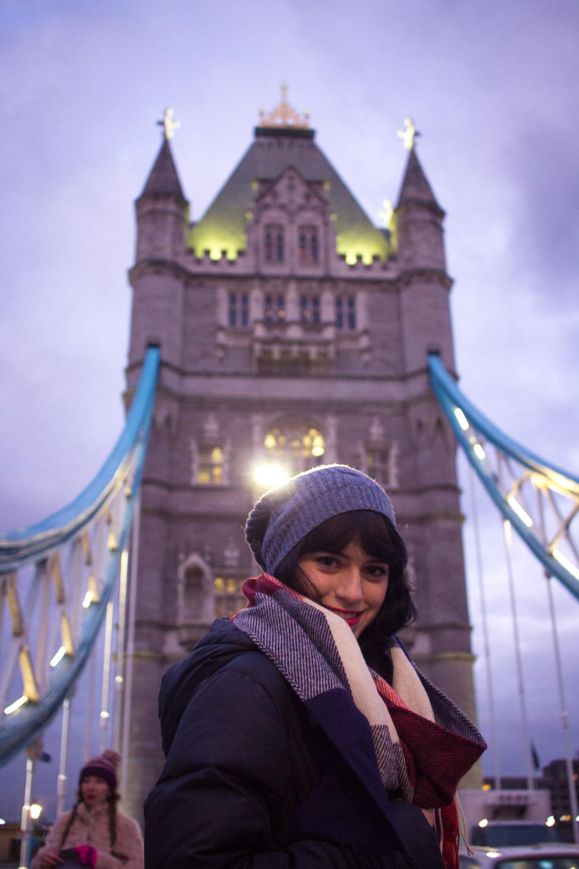 Smiling on the London Bridge at night