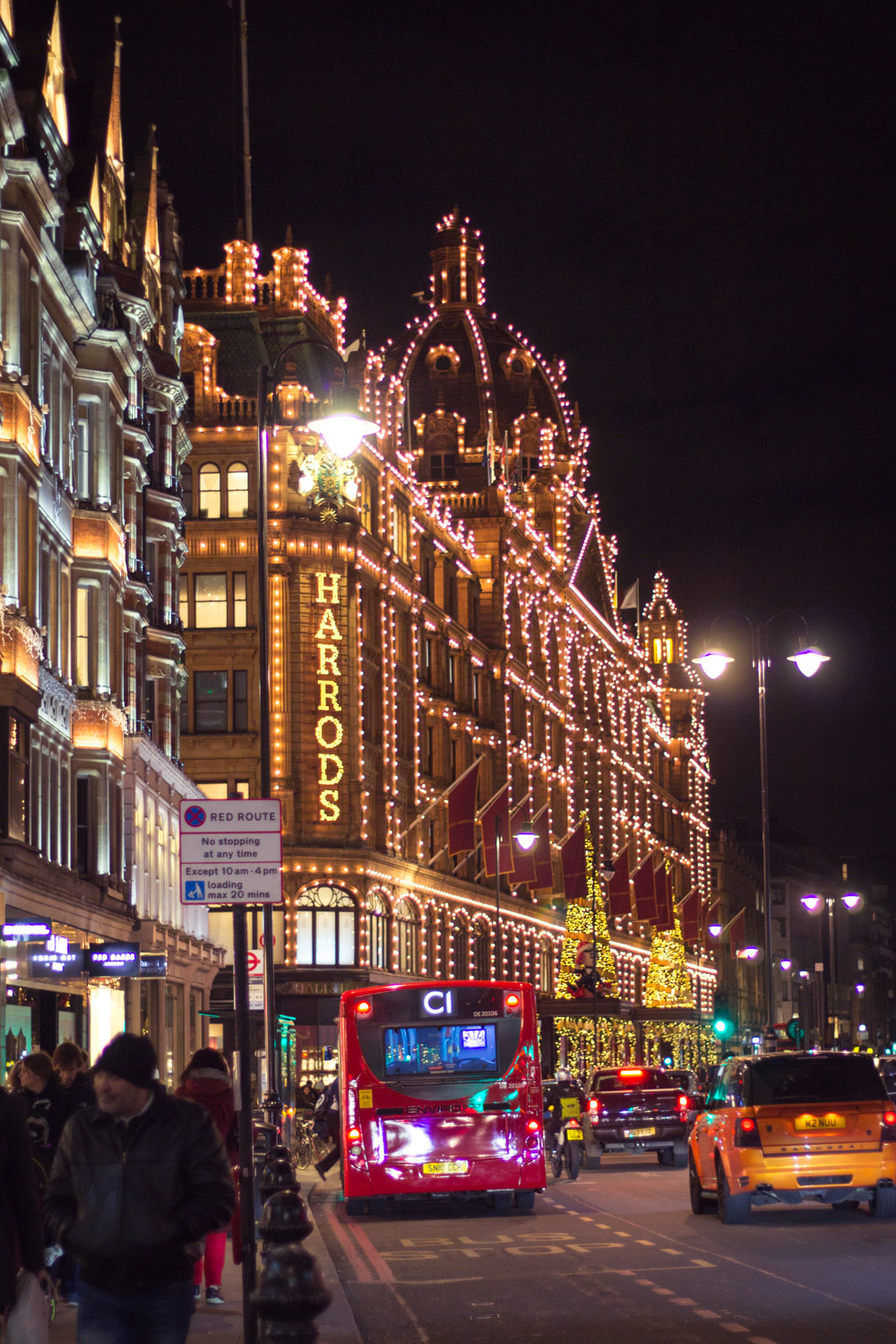 Harrods lit up at night for Christmas in London