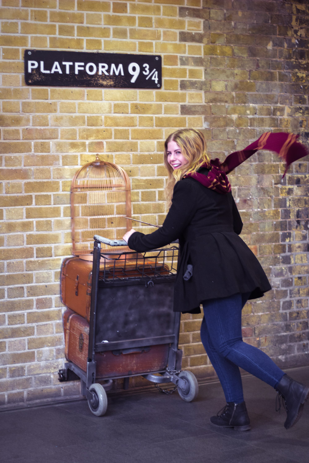The trolley in Platform 9 and 3/4 at Kings Cross in London